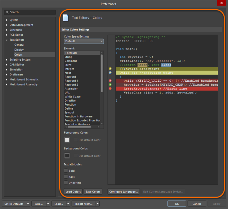 The Text Editors – Colors page of the Preferences dialog