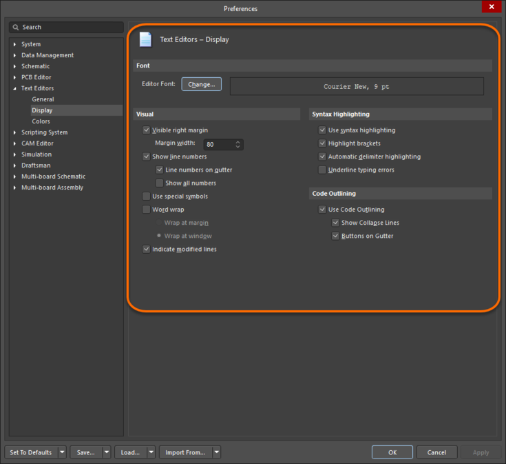 The Text Editors – Display page of the Preferences dialog