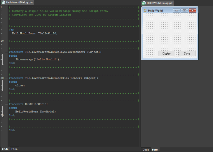 A Script Form with a Code and a Form tab opened.