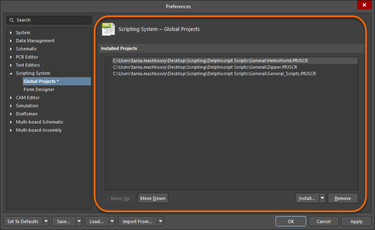 Use the Scripting System – Global Projects from the Preferences dialog to install scripts.