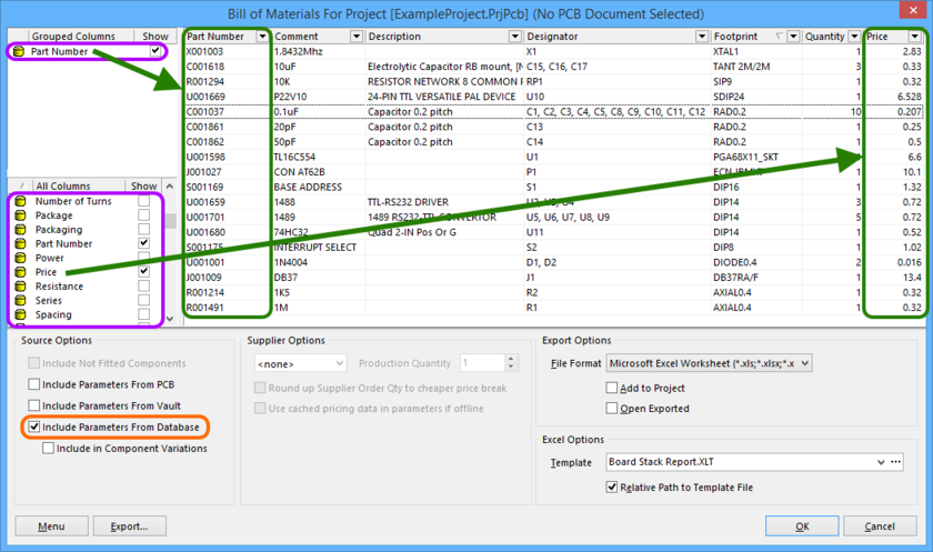 Include additional component information that exists only in an external database.