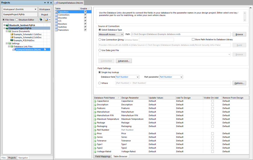 Example DbLink file, open in the DatabaseLink Editor.