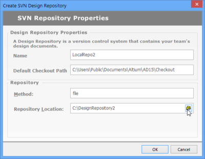 Nominate or create a local folder that will be configured as a named VCS repository.