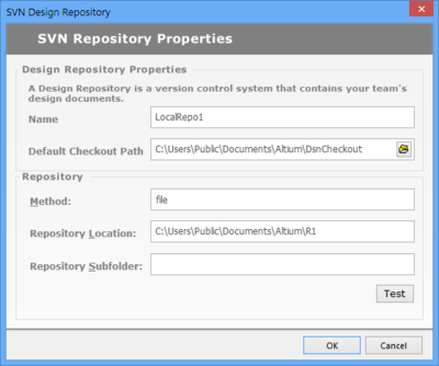 Locate an existing VCS repository to be registered in Altium Designer, and therefore be available for including design files under version control.