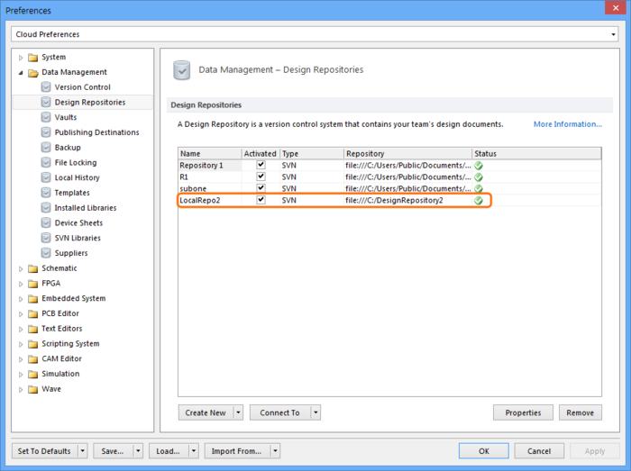 The process of creating a VCS repository – traditionally completedusing an external (separate) VCS client – can be done directly in Altium Designer's Preferences dialog.