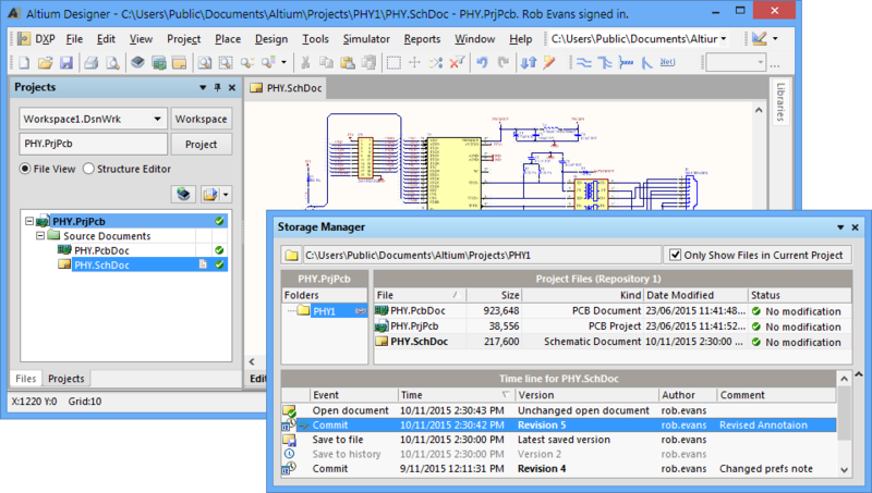 Altium Designer's built in Version Control interface can be accessed directly from the Projects panel or from the Storage Manager panel, where more option are available.