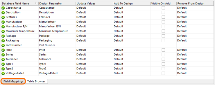 Specify parameter mapping and update options on the Field Mappings tab of the DbLink document.