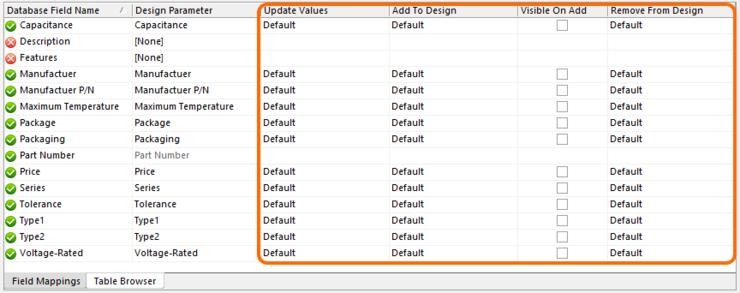 Initial (default) parameter update options.