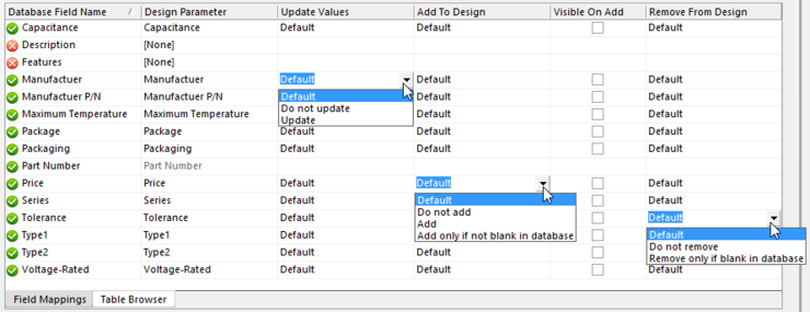 Parameter update options can be manually overridden, if required.