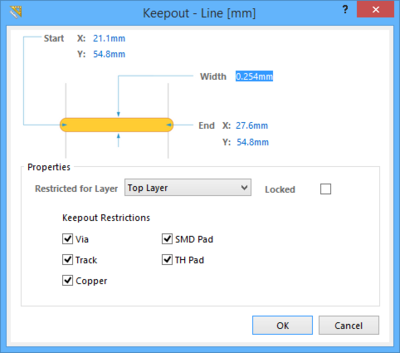 The Track dialog, as accessed while placing a standard Track (left) and as access while placing a Keeptout Track (right).
