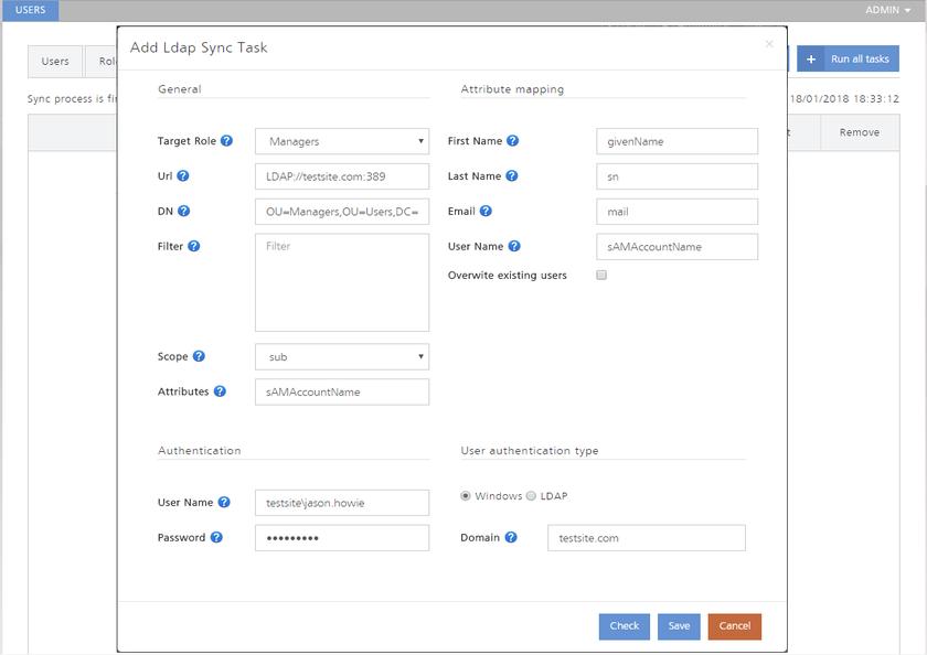 Пример добавления учетных записей пользователей на сервер AIS через LDAP-синхронизацию. Наведите курсор мыши на изображение, чтобы увидеть результат – созданные учетные записи.