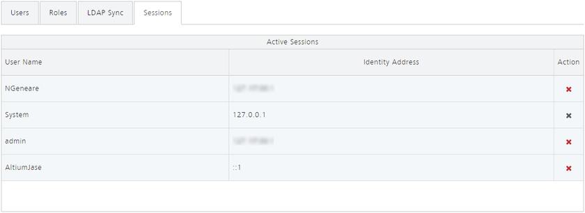 У администратора сервера AIS есть возможность не только просматривать активные подключения к серверу, но и прерывать сессии для любых пользователей, которые в данный момент подключены к нему.