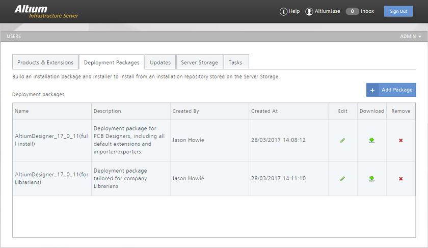 Вкладка Deployment Packages – пункт управления по созданию пакетов развертывания, которые можно затем загрузить и использовать на предприятии.