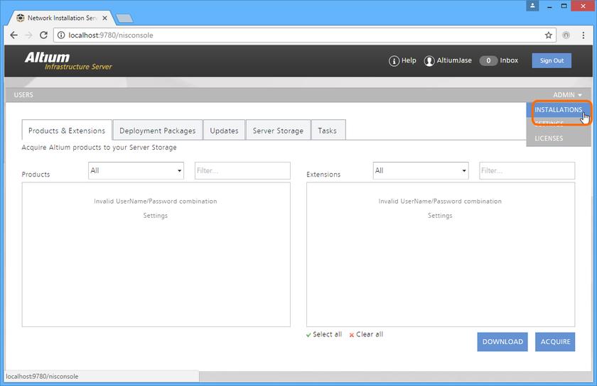 Доступ к странице INSTALLATIONS  в AIS – интерфейсу со службой NIS. Чтобы получить доступ и работать с NIS, необходимо войти как администратор AIS.