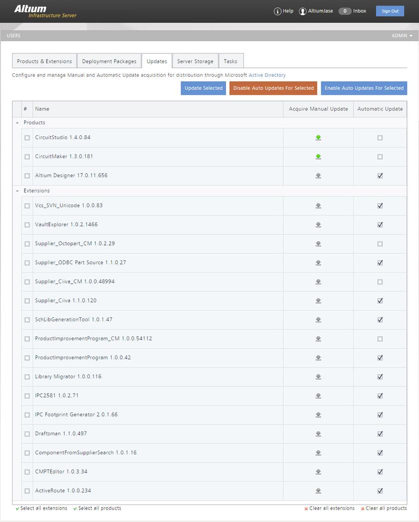 Вкладка Updates – центр управления обновлениями продуктов и модулей, загруженных на локальный сервер AIS. Здесь можно настроить, как продукты и модули будут обновляться при доступе новой версии в облачном репозитории Altium.