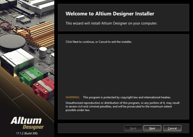 Initial welcome page for the Altium Designer Installer.