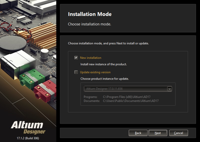 If you already have a previous installation of Altium Designer within the same version stream, you can choose to update that version.  Or, simply install as a separate unique instance.