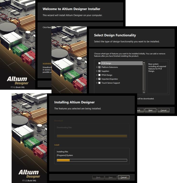 Streamlined installation courtesy of the Altium Designer Installer.