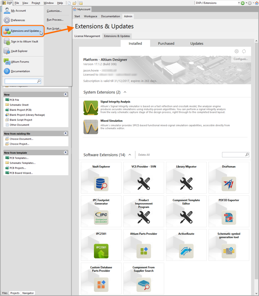 The Extensions & Updates view - command central for managing the extensions for your Altium Designer installation.