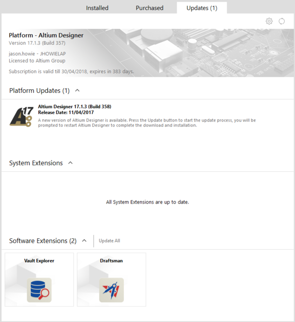 Browse whether any currently installed extensions, or the main platform, have an update available.