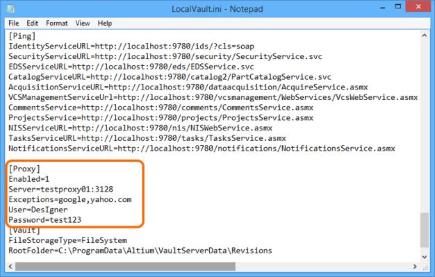 Example Proxy Server configuration.
