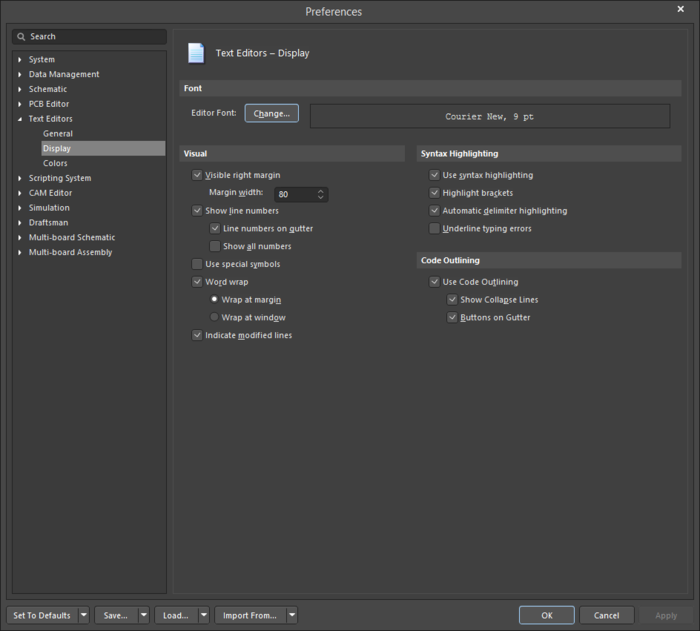 The Text Editors - Display page of the Preferences dialog