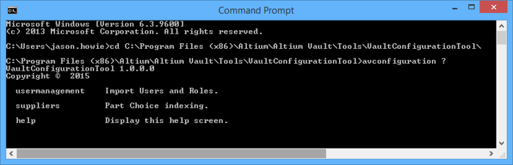 Accessing the configuration tool through a Command Prompt.