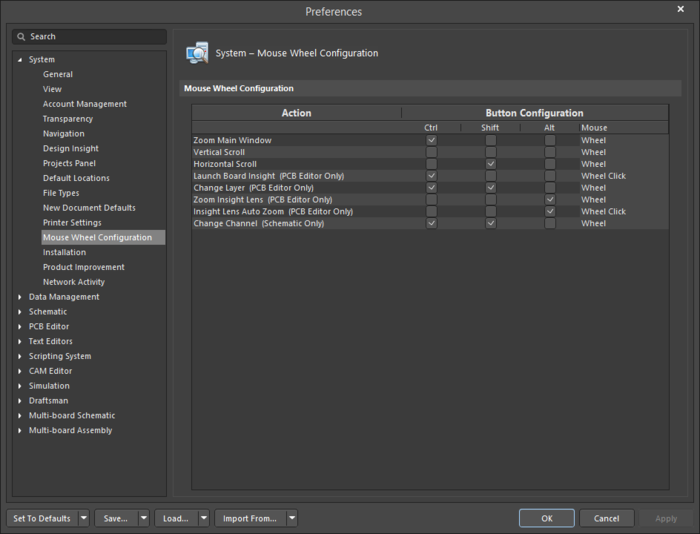 The System - Mouse WheelConfiguration page of the Preferences dialog