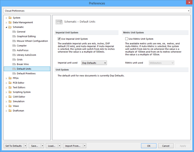 The Schematic - Default Units page of the Preferences dialog.