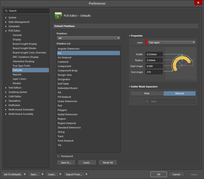 The PCB Editor - Defaults page of the Preferences dialog showing the Arc primitive as an example.