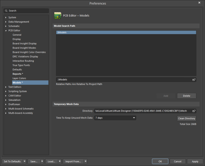 The PCB Editor - Models page of the Preferences dialog