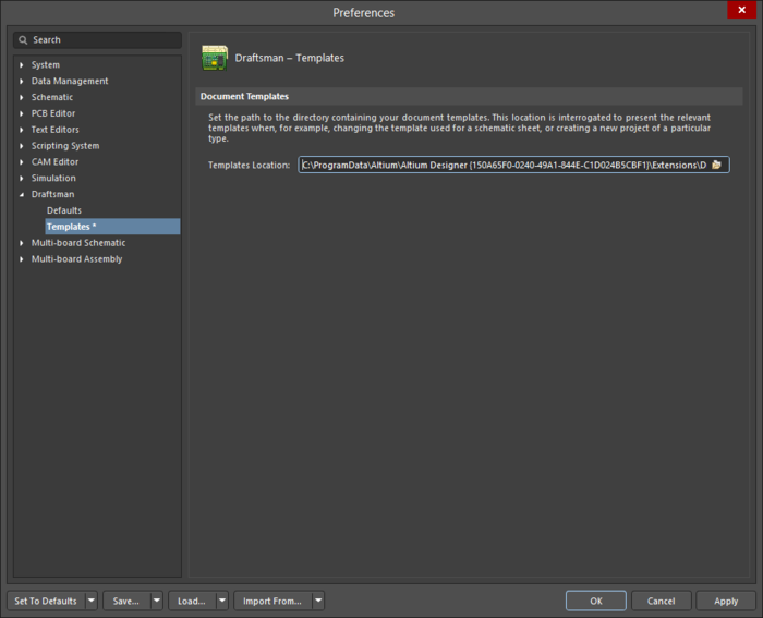 The Draftsman - Templates page of the Preferences dialog