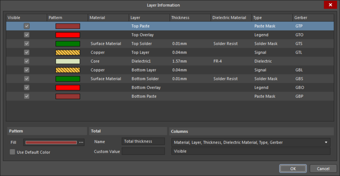 The Layer Information dialog