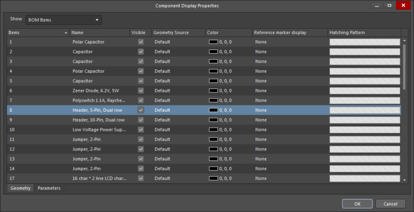 The Geometry tab of theComponent Display Properties dialog
