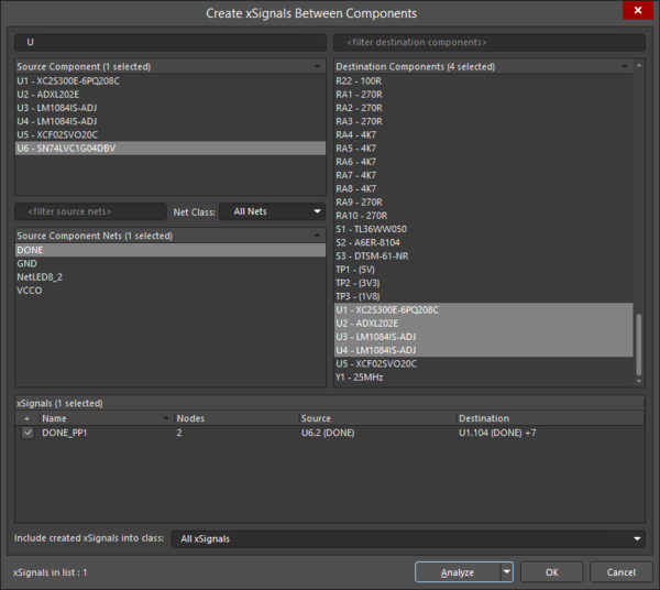 The Create xSignals Between Components dialog