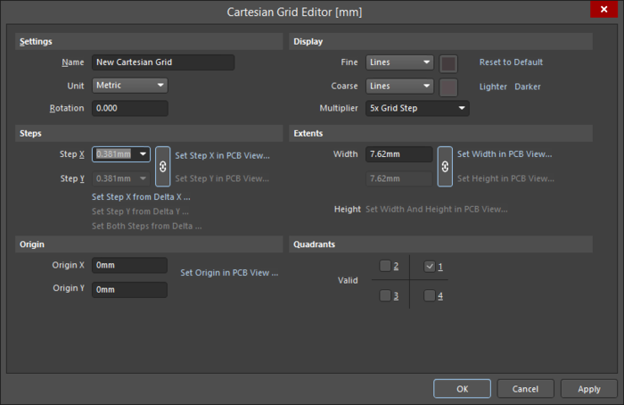 The Cartesian Grid Editor dialog