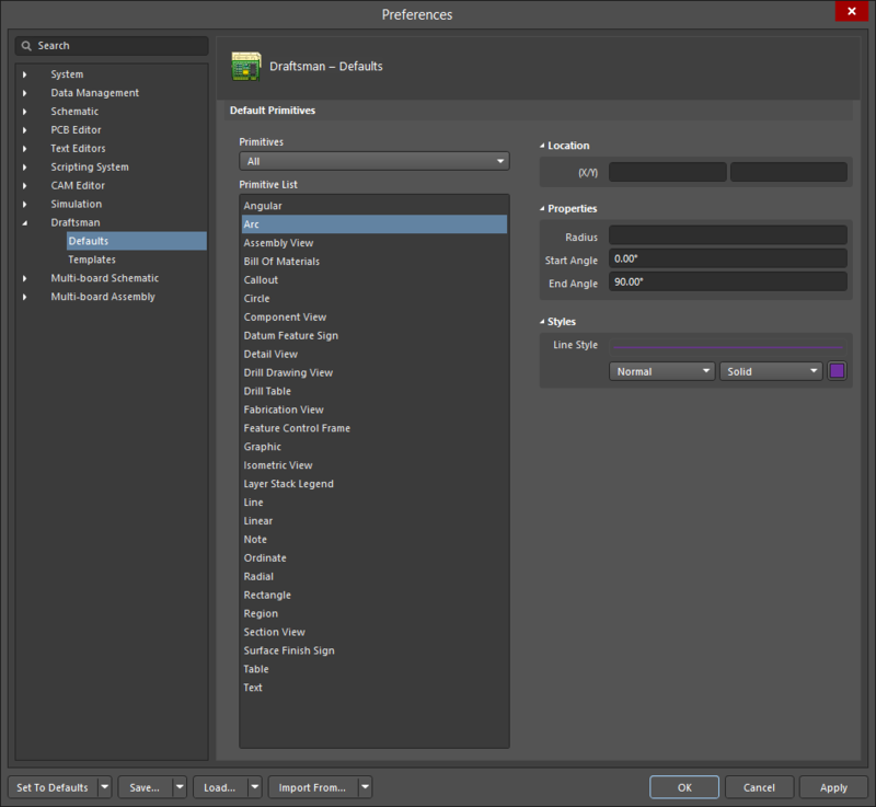 The Draftsman – Defaults page of the Preferences dialog displaying the Arc primitive as an example.