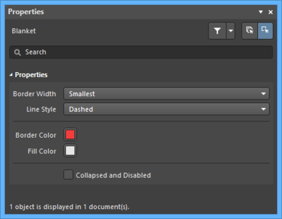 The Blanketdefault settings in thePreferences dialog and the Blanketmode of the Properties panel