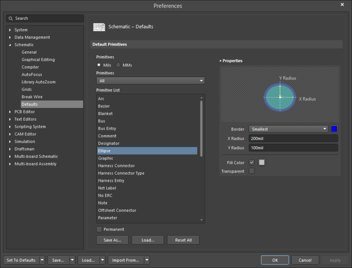 The Ellipsedefault settings in thePreferences dialog and the Ellipsemode of the Properties panel