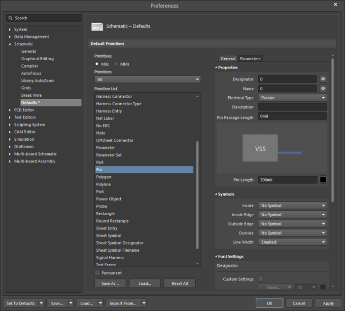 The Pindefault settings in thePreferences dialog and the Pinmode of the Properties panel
