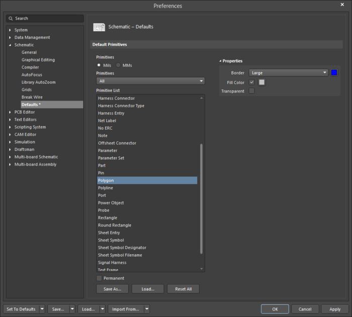 The Polygondefault settings in thePreferences dialog and the Regionmode of the Properties panel