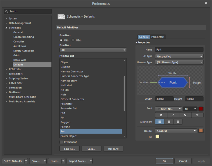 The Portdefault settings in thePreferences dialog and the Portmode of the Properties panel