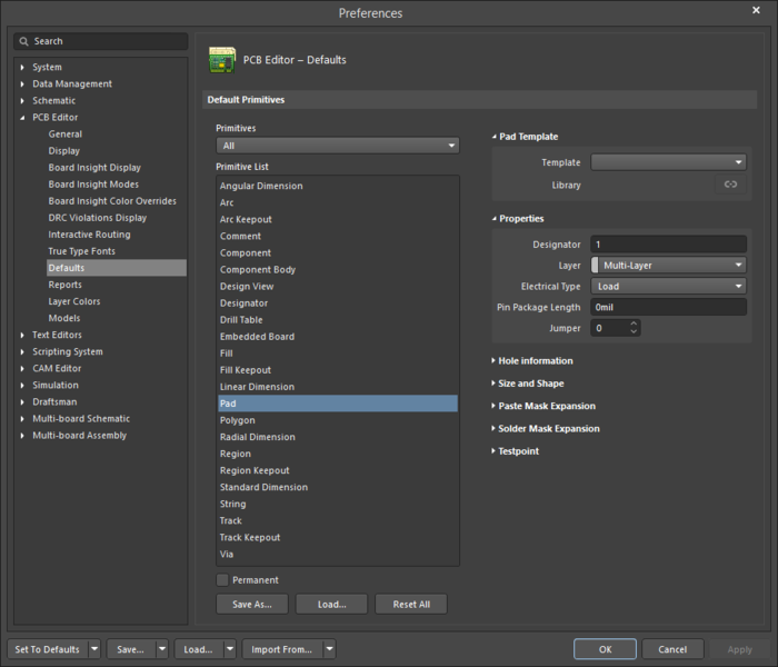 The Paddefault settings in thePreferences dialog and the Padmode of the Properties panel