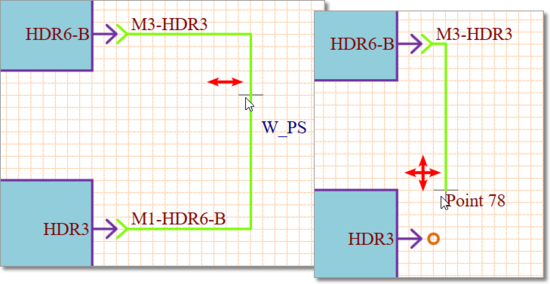 A selected Wire Connection being graphically manipulated.