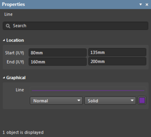 The Properties panel when a Line object is selected.
