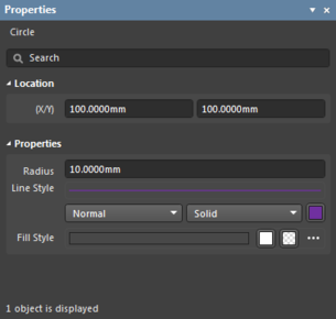 The Properties panel when a Circle object is selected.