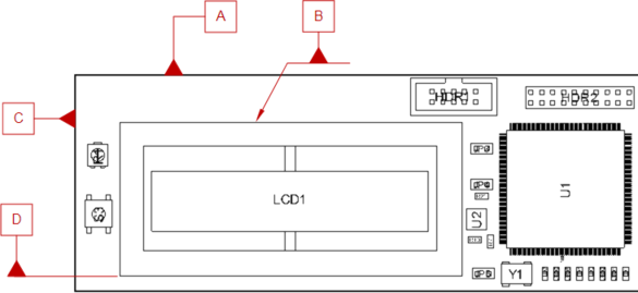 A number of Datum Feature symbols attached to the surface edges of objects in a Board Assembly View.