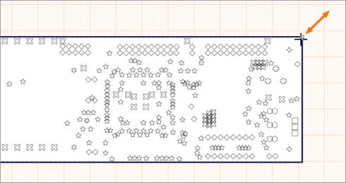 Перетащите ручку управления выделенного вида Drill Drawing View для изменения его размера.