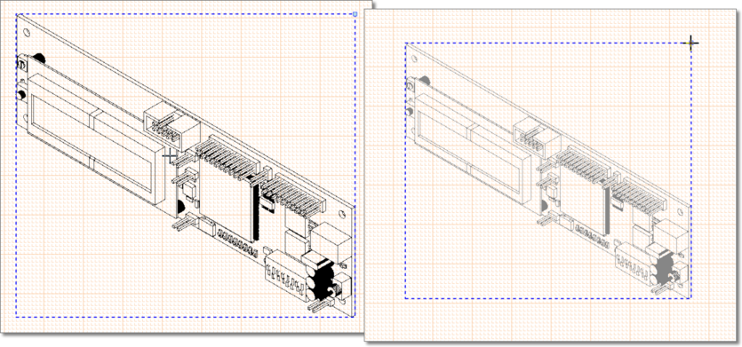 Drag a selectedBoard Isometric Viewto change its position. Drag its resize node change the drawing scale.
