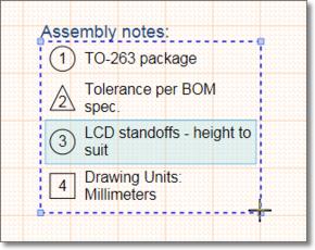 Перетащите ручку управления выбранного объекта Note для изменения его размера.